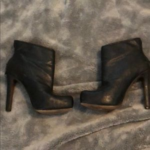 BCBGeneration Black leather faux fur-lined booties